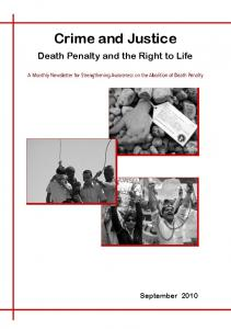 Crime and Justice. Death Penalty and the Right to Life