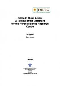 Crime in Rural Areas: A Review of the Literature for the Rural Evidence Research Centre