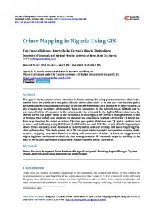 Crime Mapping in Nigeria Using GIS