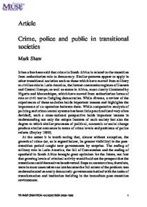 Crime, police and public in transitional societies