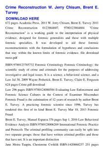 Crime Reconstruction W. Jerry Chisum, Brent E. Turvey