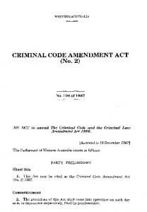 CRIMINAL CODE AMENDMENT ACT (No. 2)