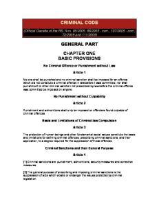 CRIMINAL CODE GENERAL PART
