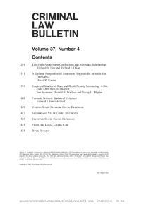 CRIMINAL LAW BULLETIN