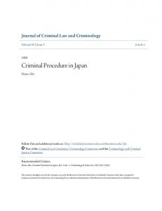 Criminal Procedure in Japan