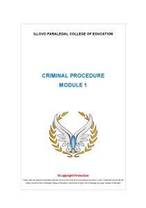 CRIMINAL PROCEDURE MODULE 1