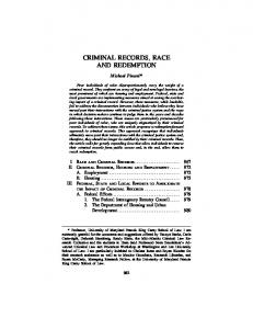 CRIMINAL RECORDS, RACE AND REDEMPTION