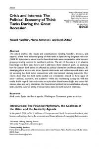 Crisis and Interest: The Political Economy of Think Tanks During the Great Recession
