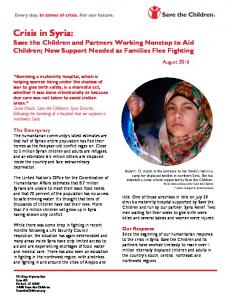 Crisis in Syria: Save the Children and Partners Working Nonstop to Aid Children; New Support Needed as Families Flee Fighting