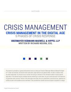 CRISIS MANAGEMENT CRISIS MANAGEMENT IN THE DIGITAL AGE