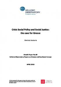 Crisis Social Policy and Social Justice: the case for Greece
