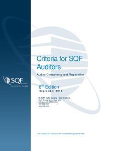 Criteria for SQF Auditors