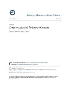 Criterion: A Journal for Literary Criticism