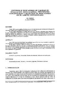 CRITERIOS E INDICADORES DE CALIDAD EN EVALUACION INSTITUCIONAL: PRECISIONES CONCEPTUALES Y SELECCION DE INDICADORES EN EL AMBITO UNIVERSITARIO
