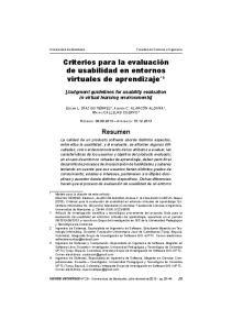 Criterios para la evaluación de usabilidad en entornos virtuales de aprendizaje *1