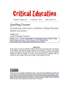 Critical Education Volume 5 Number 18 December 1, 2014 ISSN