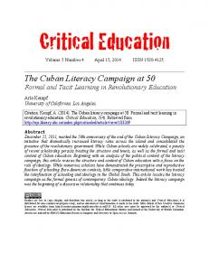Critical Education Volume 5 Number 4 April 15, 2014 ISSN