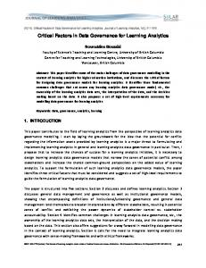 Critical Factors in Data Governance for Learning Analytics