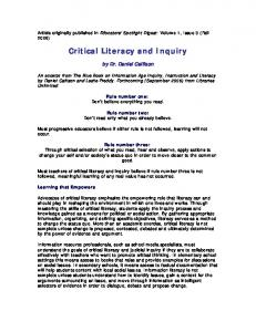 Critical Literacy and Inquiry