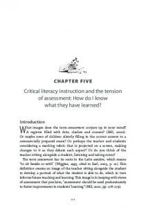 Critical literacy instruction and the tension of assessment: How do I know what they have learned?