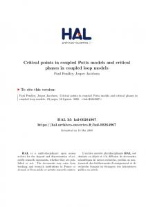 Critical points in coupled Potts models and critical phases in coupled loop models