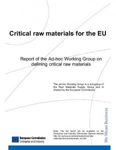 Critical raw materials for the EU