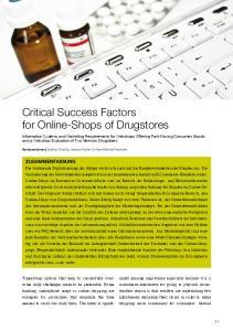 Critical Success Factors for Online-Shops of Drugstores