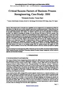 Critical Success Factors of Business Process Reengineering, Case Study: IBM