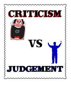 CRITICISM VS JUDGEMENT
