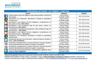 CRONOGRAMA DE CURSOS 29 Y ORIENTE JUNIO