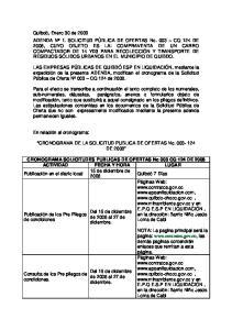 CRONOGRAMA DE LA SOLICITUD PUBLICA DE OFERTAS No DE 2008