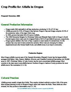 Crop Profile for Alfalfa in Oregon