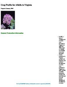 Crop Profile for Alfalfa in Virginia