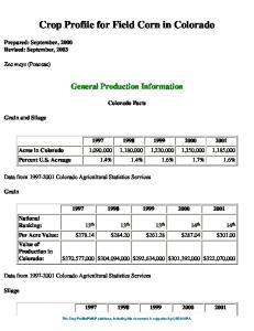 Crop Profile for Field Corn in Colorado