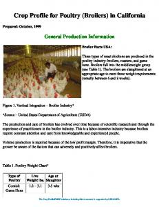 Crop Profile for Poultry (Broilers) in California