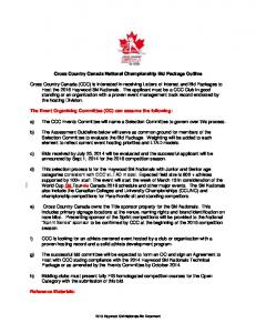 Cross Country Canada National Championship Bid Package Outline