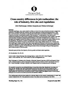 Cross country differences in job reallocation: the role of industry, firm size and regulations
