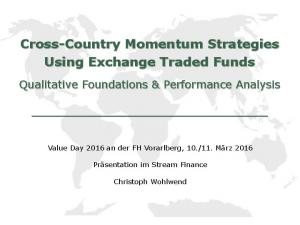Cross-Country Momentum Strategies Using Exchange Traded Funds