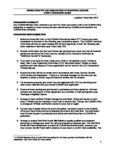 CROSS COUNTRY SKI ASSOCIATION OF MANITOBA (CCSAM) EVENT ORGANIZER GUIDE