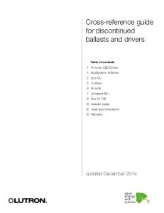Cross-reference guide for discontinued ballasts and drivers