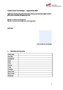 CrossCulture Internships Application 2016