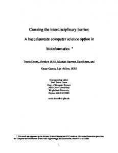 Crossing the interdisciplinary barrier: bioinformatics