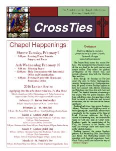 CrossTies. Chapel Happenings. Shrove Tuesday, February 9 5:30 pm - Evening Prayer, Pancake Supper, and Races