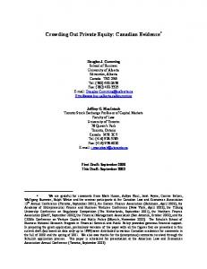 Crowding Out Private Equity: Canadian Evidence