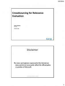 Crowdsourcing for Relevance Evaluation