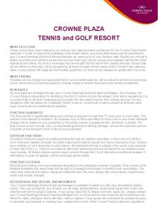 CROWNE PLAZA TENNIS and GOLF RESORT