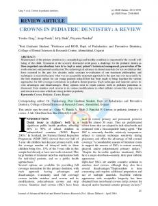 CROWNS IN PEDIATRIC DENTISTRY: A REVIEW