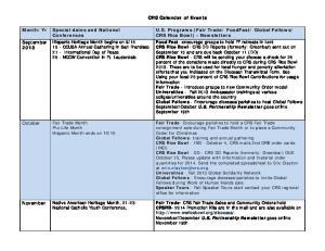 CRS Calendar of Events