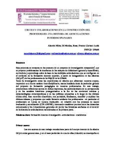 CRUCES Y COLABORACIONES EN LA CONSTRUCCIÓN DEL PROFESORADO. UNA HISTORIA DE ARTICULACIONES INTERDISCIPLINARES