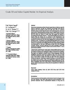 Crude Oil and Indian Capital Market: An Empirical Analysis